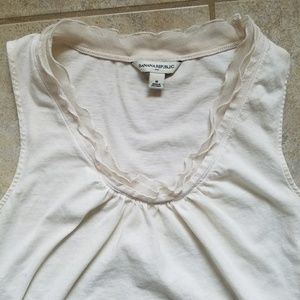 Banana Republic Ruffle Neck Tank Top Cream Great!